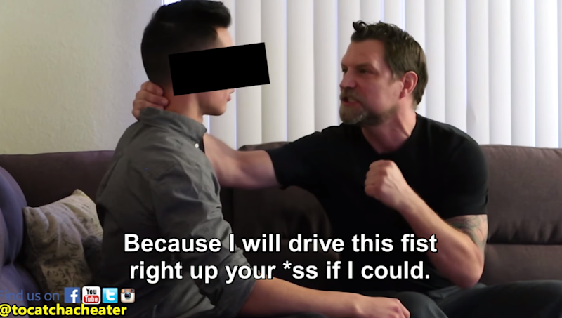 Instead he is busted by his girlfriend's dad. Photo: Youtube