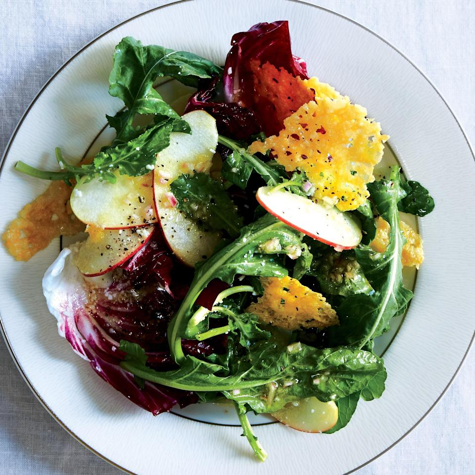 """Pomeroy prefers to serve salad at the end of the meal; with this one, you get a bit of a cheese course at the same time. <a href=""""https://www.epicurious.com/recipes/food/views/-radicchio-and-apple-salad-with-parmesan-crisps-51252810?mbid=synd_yahoo_rss"""" rel=""""nofollow noopener"""" target=""""_blank"""" data-ylk=""""slk:See recipe."""" class=""""link rapid-noclick-resp"""">See recipe.</a>"""