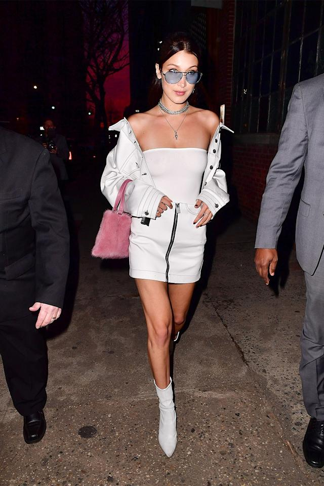 <p>Bella Hadid's all-white look will have you counting down the days to Memorial Day (assuming you're not doing that already).</p>