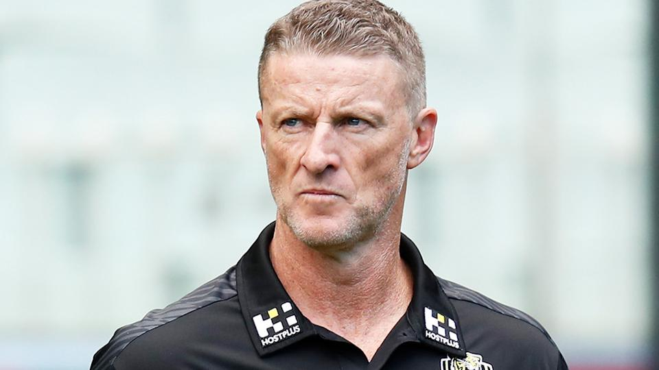 Richmond Tigers coach Damien Hardwick has criticised new rules in the VFL aimed at reducing the amount of players around each contest. (Photo by Michael Willson/AFL Photos via Getty Images)