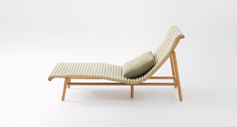 """<p>Made of turned bamboo, this design by Francesco Rota is naturally beautiful. Its simplicity has a Japanese edge, with the backrest and seat crafted from tatami fabric. Although designed for use outdoors, this sun lounger does require more care than some – it prefers not to be in direct contact with the elements and to be covered overnight and out of season. £9,476, <a href=""""https://chaplins.co.uk/"""" rel=""""nofollow noopener"""" target=""""_blank"""" data-ylk=""""slk:chaplins.co.uk"""" class=""""link rapid-noclick-resp"""">chaplins.co.uk</a></p>"""