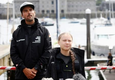 German yachtsman Boris Herrmann and Swedish teenage climate activist Greta Thunberg attend a news conference ahead of her trans-Atlantic boat trip to New York in Plymouth