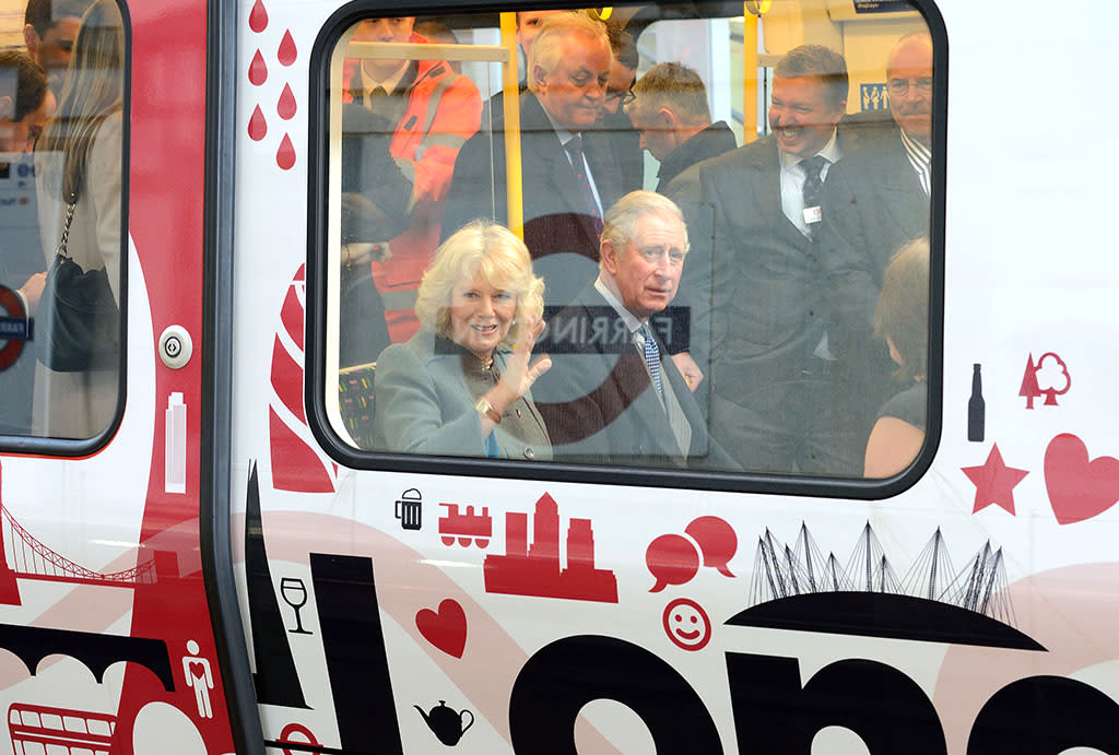 "Royal riders! Prince Charles and wife Camilla Parker Bowles took a trip on ""the tube"" recently, but it wasn't like they were heading to dinner or anything. The royal couple took the ride to mark the 150th anniversary of the London Underground. (1/3/2013)"