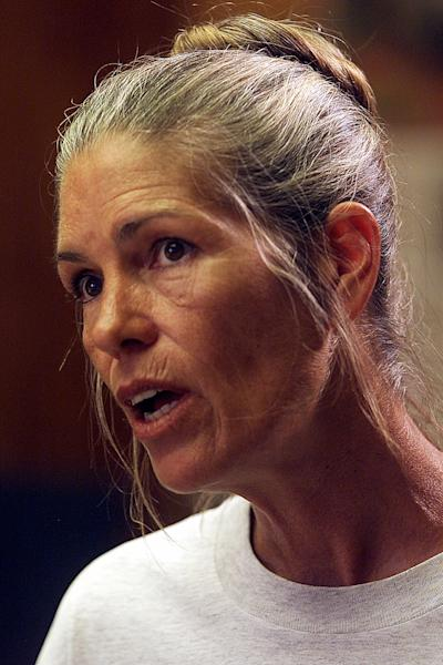 FILE - Leslie Van Houten speaks during her parole hearing in this June 28, 2002, file photo taken at the California Institution for Women in Corona, Calif. 44 years after she went to prison, Leslie Van Houten is an old woman with gray hair and wrinkles and she is facing her 20th parole hearing Wednesday June 5, 2013 with multiple forces arrayed against her bid for a chance at freedom in her old age. (AP Photo/Damian Dovarganes)