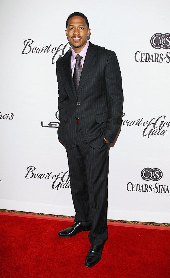 "Nick Cannon looked smart in stripes, but he was missing his best accessory: wife Mariah Carey! Michael Tran/<a href=""http://www.filmmagic.com/"" target=""new"">FilmMagic.com</a> - December 2, 2008"