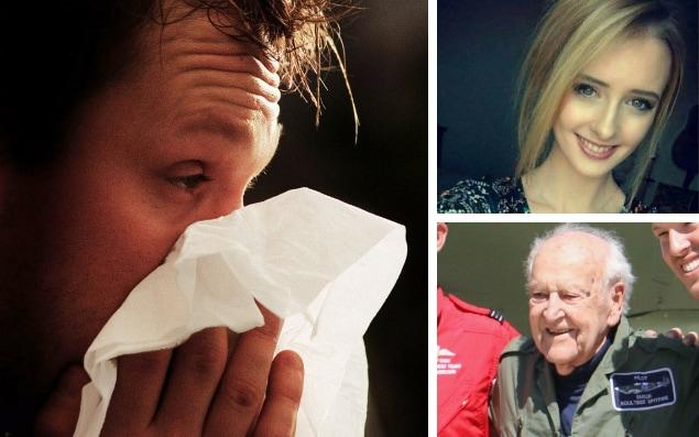 At least four million people in England are suffering from flu, with victims losing their life including an 18-year old girl and a world war II spitfire pilot - Martin Keene/PA