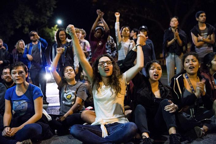 <p>University of California, Davis students sit in an intersection during a protest in Davis, California, U.S. following the election of Donald Trump as President of the United States on Nov. 9, 2016. (Photo: Max Whittaker/Reuters) </p>