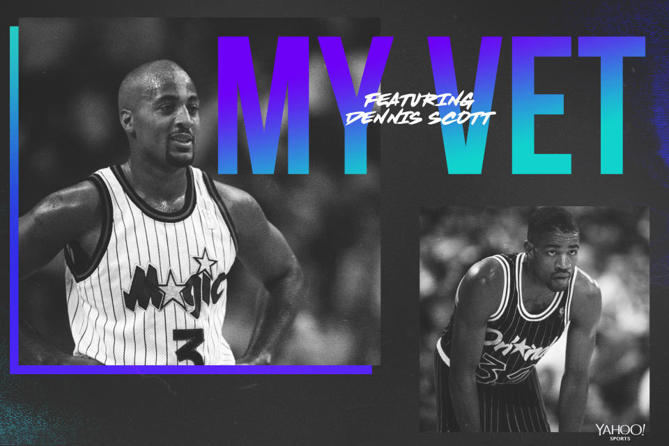 Dennis Scott pays tribute to Otis Smith and other Orlando Magic veterans. (Yahoo Sports graphic by Amber Matsumoto)