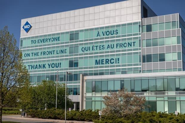 The exterior of The Ottawa Hospital campus on Smyth Road is adorned with a message of thanks for hospital workers on May 12, 2021, during the COVID-19 pandemic.