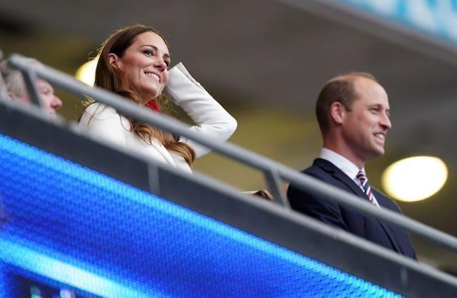 The Duchess of Cambridge alongside the Duke of Cambridge (right) in the stands