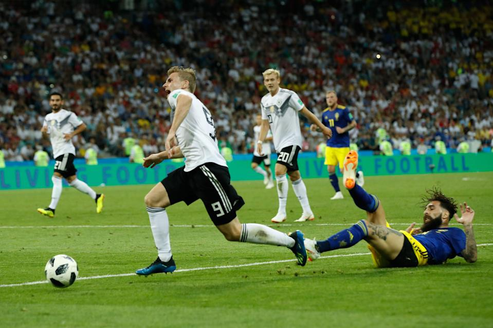 Sweden's midfielder Jimmy Durmaz (R) vies for the ball with Germany's forward Timo Werner (L) during the Russia 2018 World Cup Group F football match between Germany and Sweden at the Fisht Stadium in Sochi on June 23, 2018. (Getty Images)