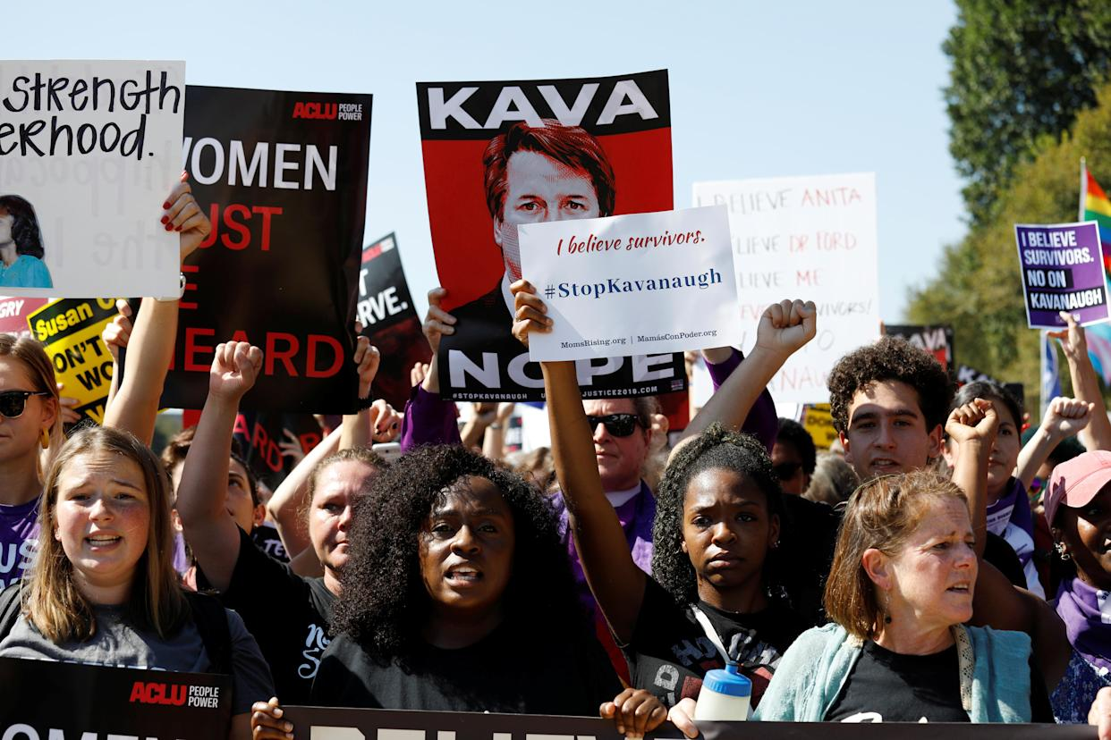 Activists hold a march and rally to protest against Supreme Court nominee Brett Kavanaugh near the Capitol in Washington Thursday. (Photo: Kevin Lamarque/Reuters)