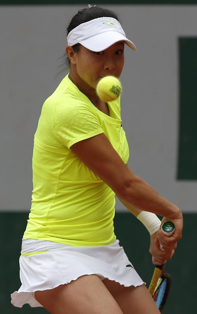 China's Zheng Jie returns the ball to Slovakia's Anna Schmiedlova during the first round match of the French Open tennis tournament at the Roland Garros stadium, in Paris, France, Sunday, May 25, 2014. (AP Photo/Michel Euler)