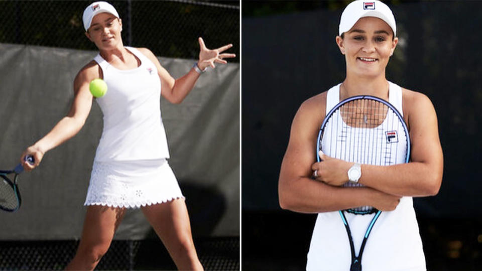 Ash Barty, pictured here in her Wimbledon outfit.