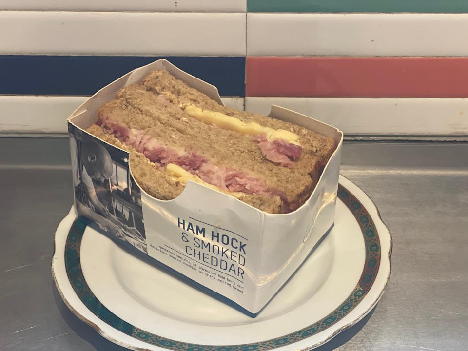 Plane food: a British Airways cheese and ham sandwich, to be consumed before arrival in the EU (Charlotte Hindle)