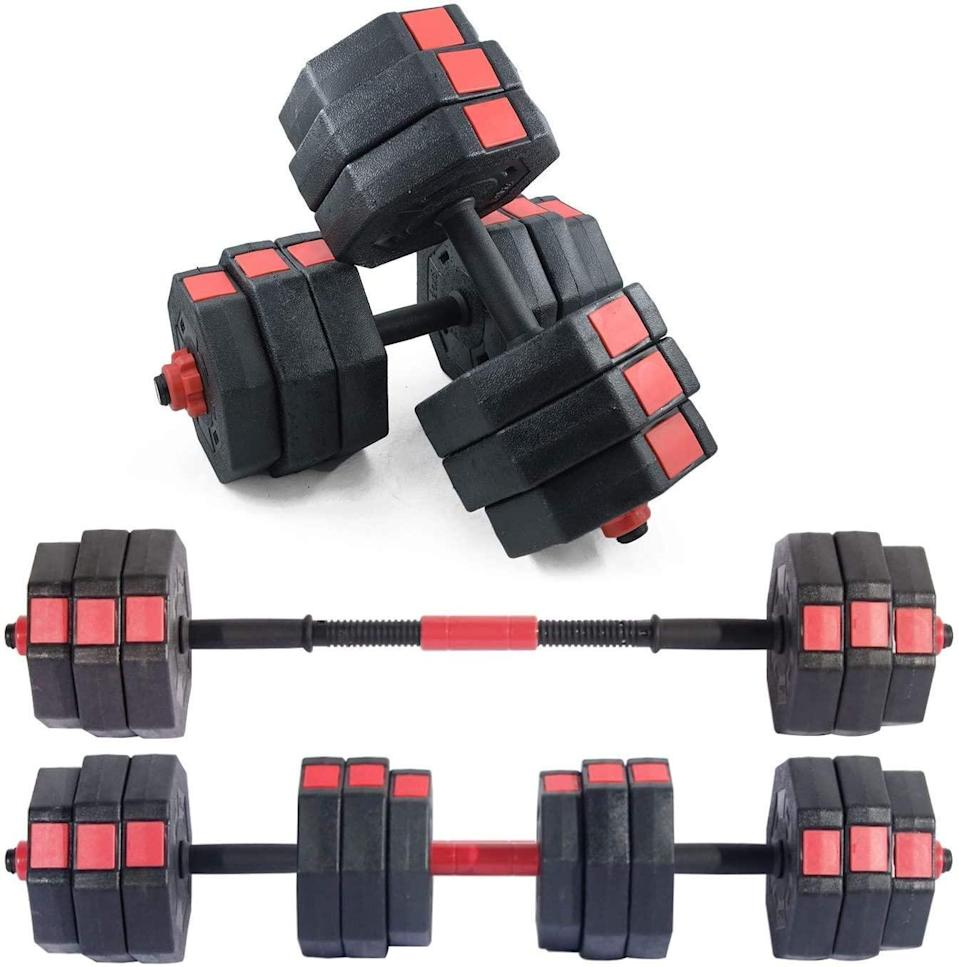 "<br><br><strong>soges</strong> Adjustable Anti-Rolling Dumbbells, $, available at <a href=""https://amzn.to/2SPg6hJ"" rel=""nofollow noopener"" target=""_blank"" data-ylk=""slk:Amazon"" class=""link rapid-noclick-resp"">Amazon</a>"