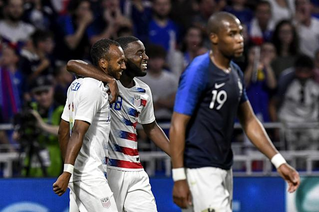 Julian Green (left) and the young USMNT acquitted themselves well against mighty France. (Getty)