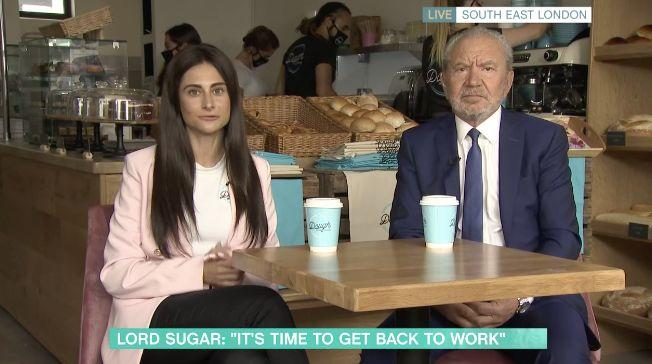 Carina Lepore and Alan Sugar spoke from her shop on Tuesday's This Morning (Photo: ITV)