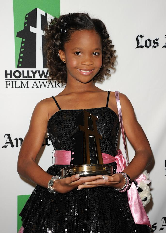 BEVERLY HILLS, CA - OCTOBER 22:  Actress Quvenzhané Wallis poses with the New Hollywood Award the 16th Annual Hollywood Film Awards Gala presented by The Los Angeles Times held at The Beverly Hilton Hotel on October 22, 2012 in Beverly Hills, California.  (Photo by Jason Merritt/Getty Images)