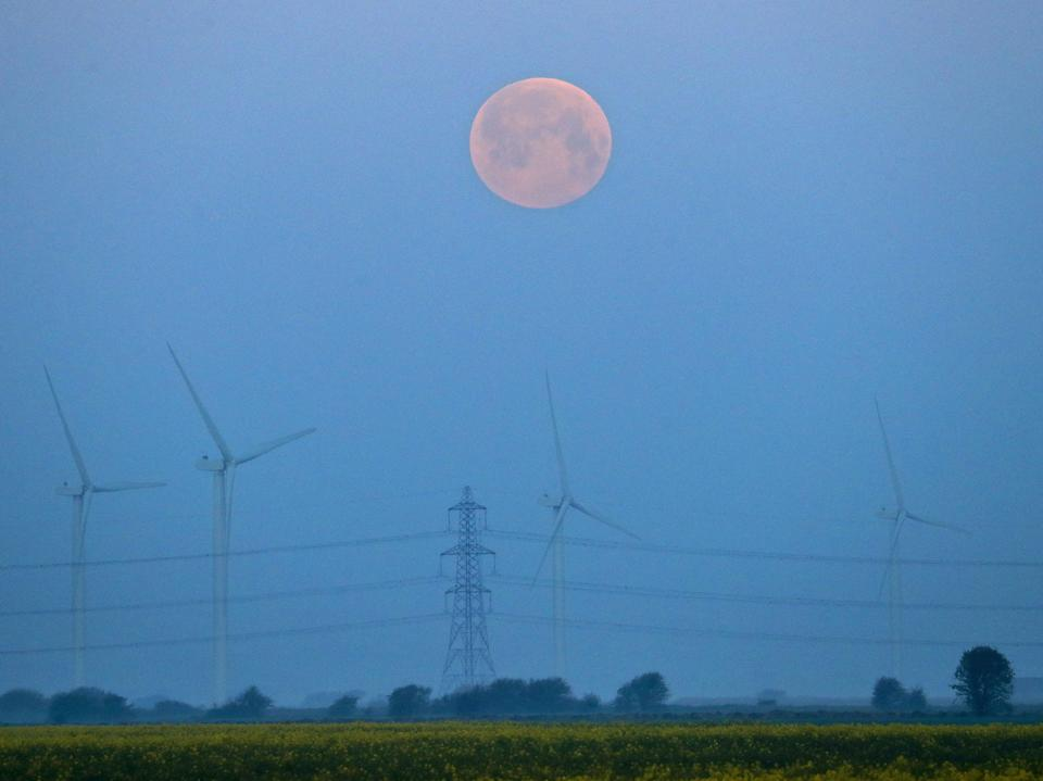 <p>A full moon sets over Little Cheyne Court Wind Farm on the Romney Marsh in Kent, on Monday, during the frostiest April for over 60 years</p> (PA)