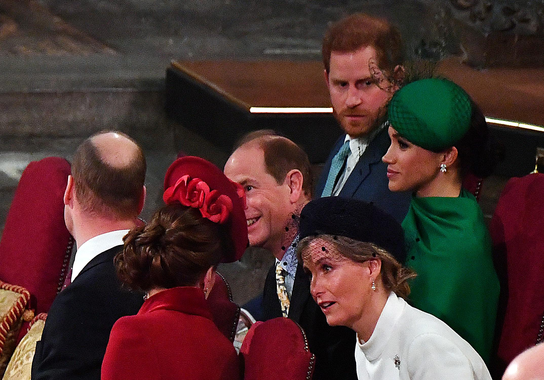 Britain's Prince William, Duke of Cambridge (L) and Britain's Catherine, Duchess of Cambridge (2nd L) chat with Britain's Prince Edward, Earl of Wessex (3rd L) and Britain's Sophie, Countess of Wessex (3rd R) as Britain's Prince Harry, Duke of Sussex (2nd R) and Meghan, Duchess of Sussex (R) sit behind, inside Westminster Abbey as they attend the annual Commonwealth Service in London on March 9, 2020. - Britain's Queen Elizabeth II has been the Head of the Commonwealth throughout her reign. Organised by the Royal Commonwealth Society, the Service is the largest annual inter-faith gathering in the United Kingdom. (Photo by Phil Harris / POOL / AFP) (Photo by PHIL HARRIS/POOL/AFP via Getty Images)