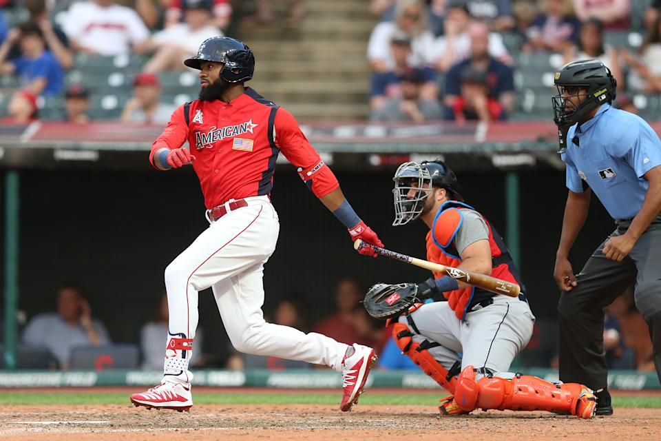 CLEVELAND, OH - JULY 07:  Jo Adell #25 of the American League Futures Team bats during the SiriusXM All-Star Futures Game at Progressive Field on Sunday, July 7, 2019 in Cleveland, Ohio. (Photo by Rob Tringali/MLB Photos via Getty Images)