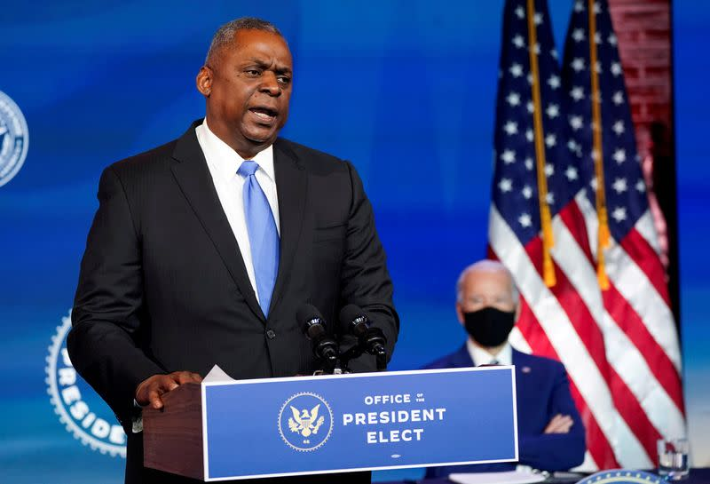 FILE PHOTO: FILE PHOTO: Retired U.S. General Lloyd Austin speaks after being picked by President-elect Joe Biden to become defense secretary