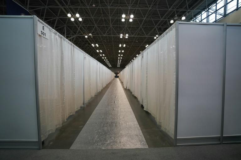 A temporary hospital is set up at New York's Jacob K. Javits Center, a riverfront convention facility