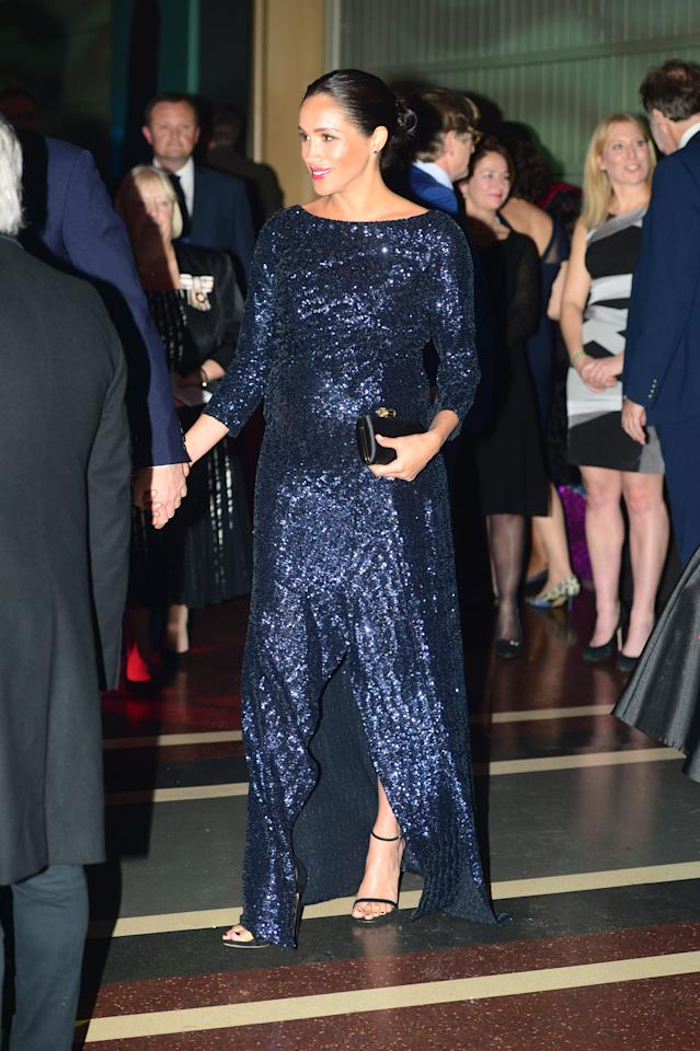 Wearing a Roland Mouret dress. (Getty Images)