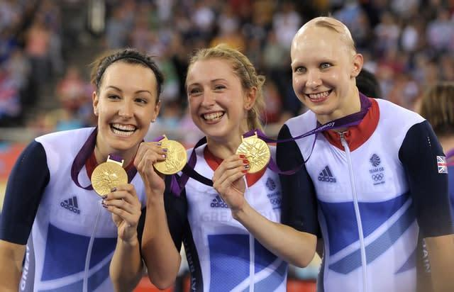 Great Britain's (left to right) Dani King, Laura Trott and Joanna Rowsell secured team pursuit gold (Tim Ireland/PA)