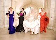 <p><em>Sex and the City</em> fans flood theaters to see <em>Sex and the City: The Movie</em>, wanting to find out the fate of Carrie and Mr. Big's relationship—and what she'll wear to the wedding. (Spoiler alert: He leaves her at the altar wearing an over-the-top Vivienne Westwood gown and feather fascinator.) </p>