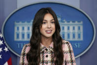 Teen pop star Olivia Rodrigo speaks at the beginning of the daily briefing at the White House in Washington, Wednesday, July 14, 2021. Rodrigo is at the White House to film a video to promote vaccines. (AP Photo/Susan Walsh)