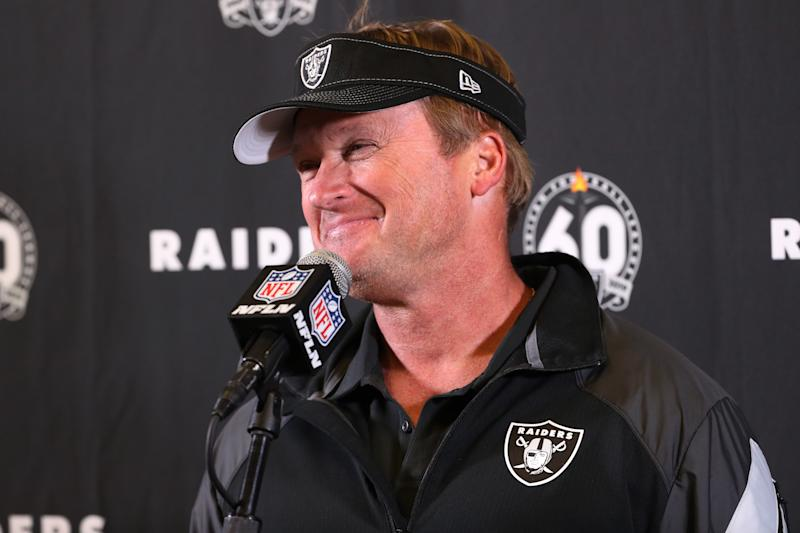 Oakland Raiders head coach Jon Gruden had an interesting exchange with a highly touted 2020 NFL draft prospect at the NFL scouting combine. (Photo by Kiyoshi Mio/Icon Sportswire via Getty Images)