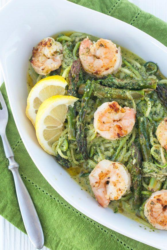 "<p>Spiralized zucchini is a healthy base for tasty pesto, lemony asparagus, and protein-rich shrimp.</p><p><strong>Get the recipe on <a href=""http://healthywithnedi.com/pesto-zoodles-with-grilled-prawns/"" rel=""nofollow noopener"" target=""_blank"" data-ylk=""slk:Healthy with Nedi"" class=""link rapid-noclick-resp"">Healthy with Nedi</a>.</strong></p>"