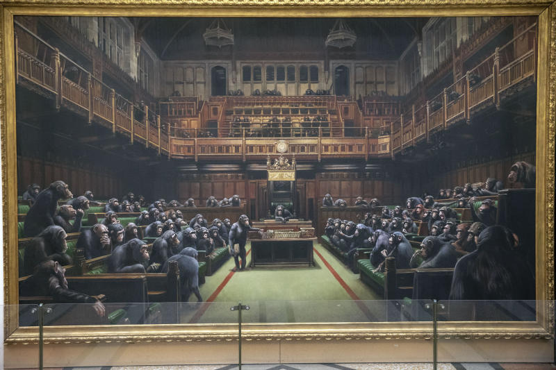 The painting 'Devolved Parliament' by the graffiti artist Banksy, which is going up for auction, could become the most expensive Banksy piece ever sold. (PA)