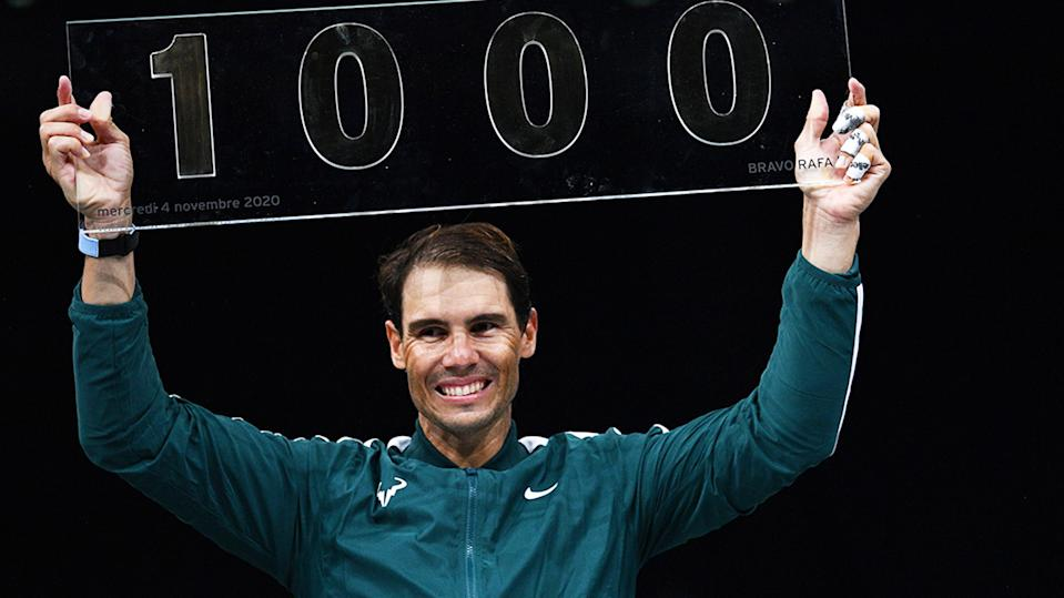 Rafael Nadal, pictured here with a trophy celebrating his 1000th career victory.