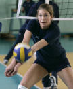 FILE - In this Wednesday, March 19, 2008, file photo, Team USA women's volleyball player Alix Klineman receives a serve during a workout in Tianjin, China. Klineman will partner with April Ross at the 2021 Tokyo Olympics. (AP Photo/Robert F. Bukaty, File)