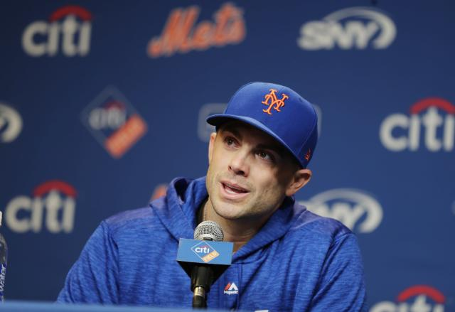 New York Mets third baseman David Wright speak during a news conference before a baseball game against the Miami Marlins, Thursday, Sept. 13, 2018, in New York. (AP Photo/Frank Franklin II)