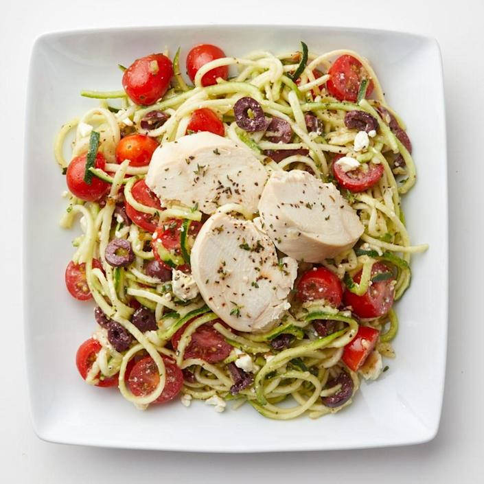 """<p>Load up on vegetables, but not on calories, with this healthy zoodle salad. Look for zucchini noodles with other prepared vegetables in the produce section or make your own with a spiralizer. <a href=""""https://www.eatingwell.com/recipe/262112/zucchini-noodle-salad-with-chicken/"""" rel=""""nofollow noopener"""" target=""""_blank"""" data-ylk=""""slk:View Recipe"""" class=""""link rapid-noclick-resp"""">View Recipe</a></p>"""