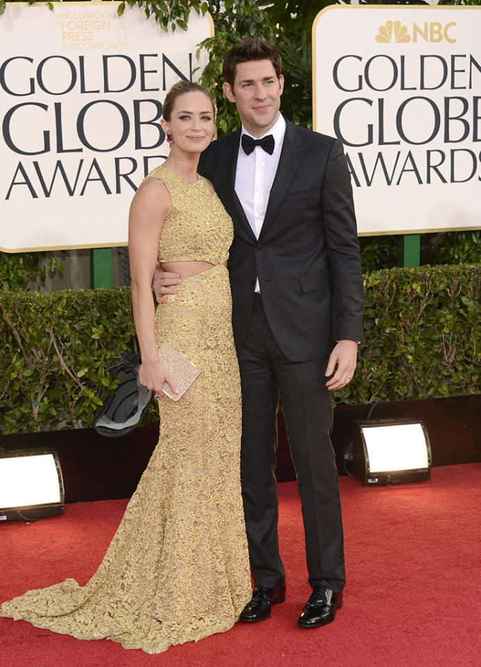 Emily Blunt and John Krasinski arrive at the 70th Annual Golden Globe Awards at the Beverly Hilton in Beverly Hills, CA on January 13, 2013.