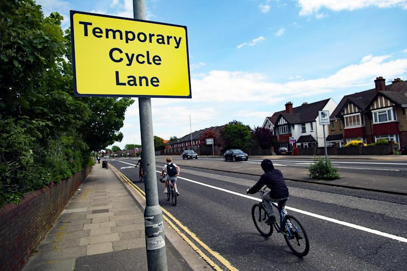 A general view of the UK's first Covid cycle lane on a dual carriageway in Hove, near Brighton, as the UK continues in lockdown to curb the spread of Coronavirus during the pandemic.