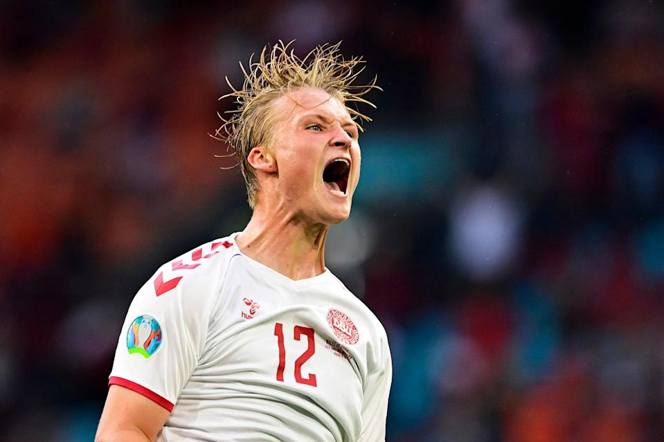 Kasper Dolberg of Denmark celebrates after his second goal (Getty)