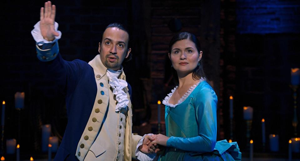 """<p><em>Nominated for: Best Motion Picture–Musical or Comedy; Best Actor in a Motion Picture–Musical or Comedy (Lin-Manuel Miranda)</em></p> <p>If you don't know the story of Hamilton, well, it's the story of the founding of America. Plus raps! This isn't a movie, exactly, it's a professionally filmed version of the Broadway production with the original cast. Warning: You won't get """"Schuyler Sisters"""" out of your head any time soon.</p> <p><a href=""""https://cna.st/affiliate-link/4jjCSCMwBXPB5oyki6wXEUAphtuGb1MZzGNKngaJQcyUVBwn2Cxuh9j2Fkf6NELSUN5YyEtEUisTbGFi5Jrm9qoh2zzgw35zGbuhNBbydvwMYcfP42u?cid=600ae78e8f9a115eb1a45768"""" rel=""""nofollow noopener"""" target=""""_blank"""" data-ylk=""""slk:Watch now on Disney Plus"""" class=""""link rapid-noclick-resp""""><em>Watch now on Disney Plus</em></a></p>"""