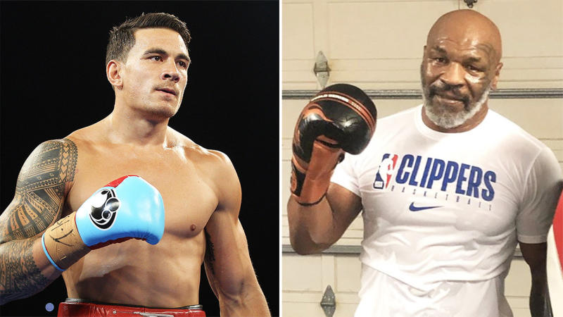Mike Tyson (pictured right) posing after a workout and Sonny Bill Williams (pictured left) during a fight.