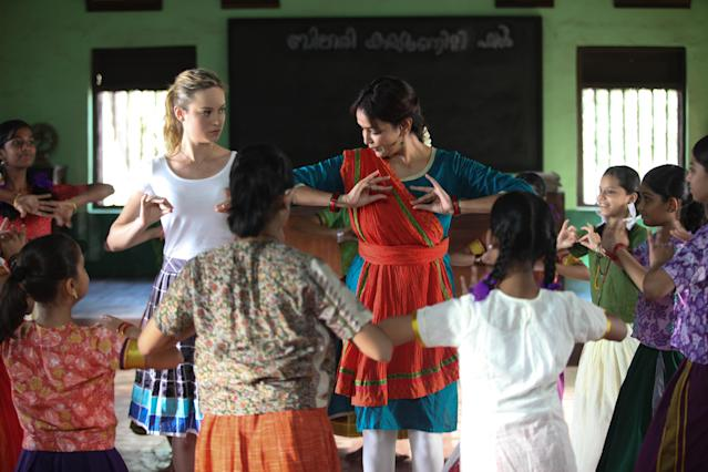 Brie Larson and Lakshmi Manchu in <em>Basmati Blues</em>. (Photo: Shout! Studios)