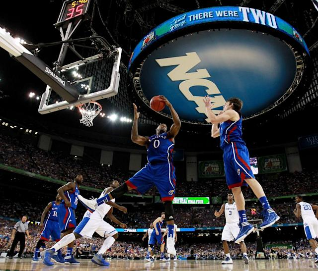 Thomas Robinson #0 of the Kansas Jayhawks grabs the ball in the first half while taking on the Kentucky Wildcats in the National Championship Game of the 2012 NCAA Division I Men's Basketball Tournament at the Mercedes-Benz Superdome on April 2, 2012 in New Orleans, Louisiana. (Photo by Ronald Martinez/Getty Images)