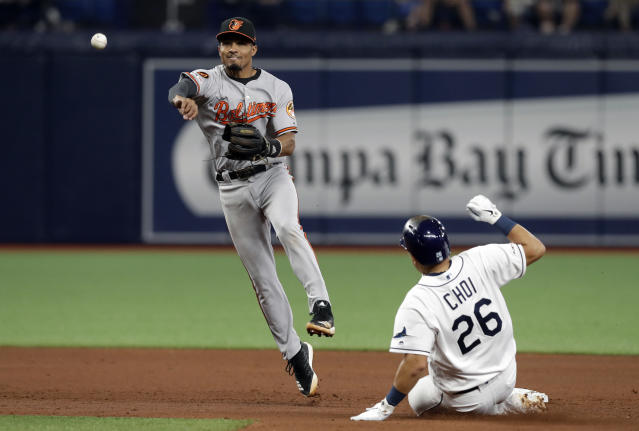 Baltimore Orioles shortstop Richie Martin (1) forces Tampa Bay Rays' Ji-Man Choi (26) at second base and relays the throw to first in time to turn double play on Yandy Diaz during the fifth inning of a baseball game Wednesday, April 17, 2019, in St. Petersburg, Fla. (AP Photo/Chris O'Meara)