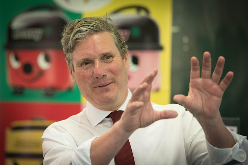 Labour Leader Keir Starmer during a visit to Stevenage, Hertfordshire, to discuss the economic recovery in the wake of COVID 19.