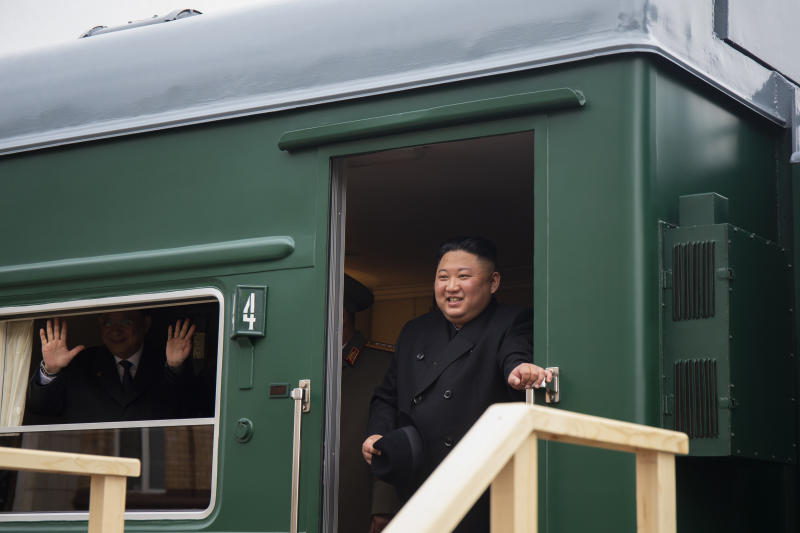 In this photo released by the Press office of the administration of Primorsky Krai region, North Korea's leader Kim Jong Un leaves a carriage after arriving at the border station of Khasan, Primorsky Krai region, Russia, Wednesday, April 24, 2019. North Korean leader Kim Jong Un arrived in Russia on Wednesday morning for his much-anticipated summit with Russian President Vladimir Putin in the Pacific port city of Vladivostok. (Alexander Safronov/Press Office of the Primorye Territory Administration via AP)