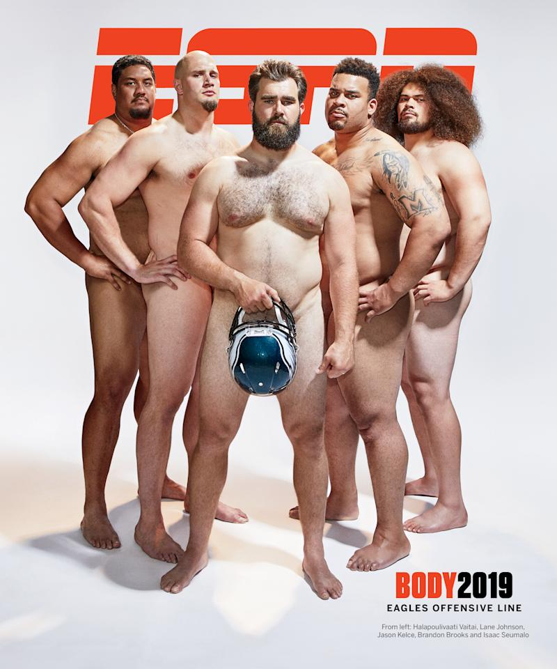 The Eagles Offensive Line poses for ESPN's final Body Issue. (Photo: Andrew Hetherington for ESPN)
